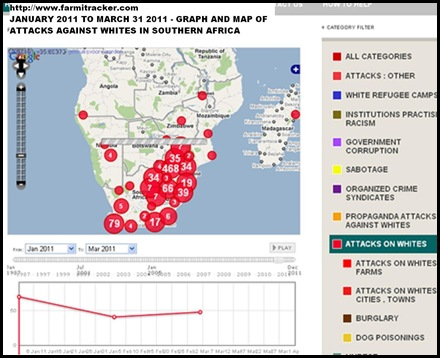 ArmedAttacksAgainstWhitesSAJan2011_March312011_graph_map