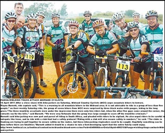 MIDRAND CYCLISTS ATTACKED BY PANGA ROBBERSApril152011