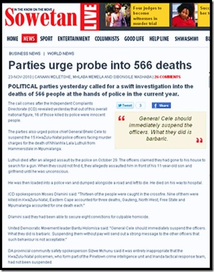 SAPS 566 PEOPLE KILLED IN POLICE CUSTODY IN 2010 Sowetan