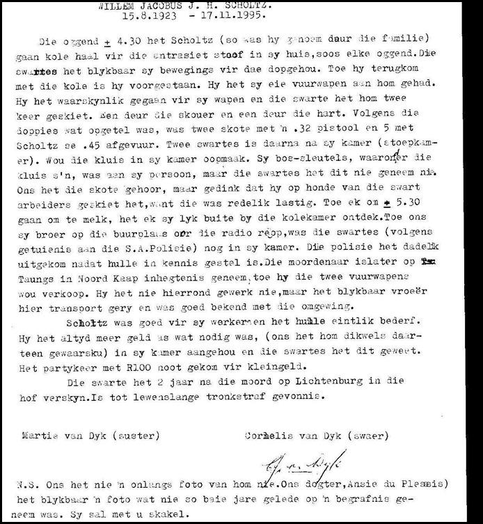 Scholtz Willem Jacobus Nov171995 FAMILY REPORT