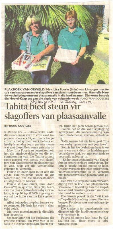 Fourie Lita Tabita organisation helping farm attack victims