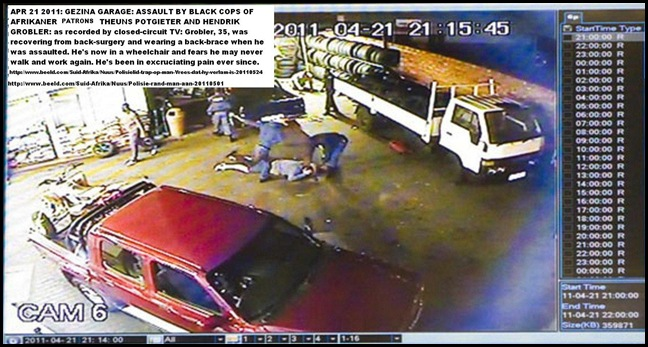 GROBLER HENDRIK AND THEUNS POTGIETER ASSAULTED 3 COPS GEZINA 21APRIL2011 CCTV