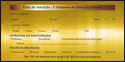 FICHA INSCRIÇÃO V Simpósio de Educação Infantil