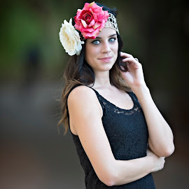 Blue by Carole Brown - People Portraits of Women ( floral headband, black hair, beautiful, blue eyes, black dress )
