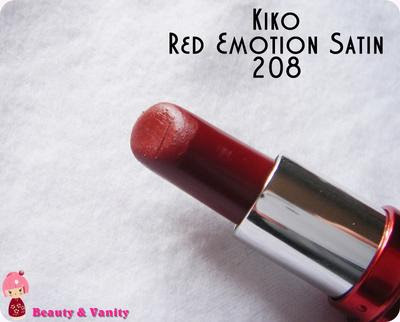 KIKO RED EMOTION SATIN 208 (BORDEAUX SCURO)