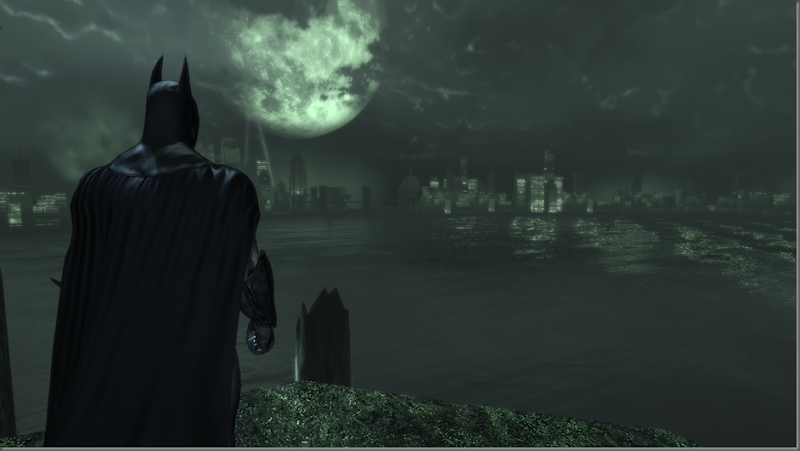 Batman surveys gotham from Arkham Batcave