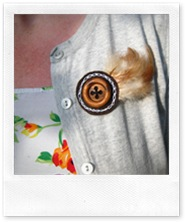 wooden button pin on clothes