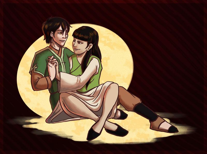 Mai and Zuko cuddling