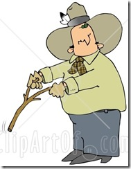 17191-Caucasian-Cowboy-With-A-Feather-In-His-Hat-Looking-Back-Over-His-Shoulder-While-Handling-A-Stick-While-Water-Witching-Or-Dowsing-Clipart-Illustration-Image