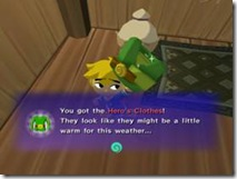 Link não está muito animado com sua roupa nova...