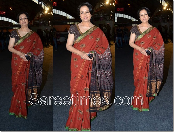 Joy_Mitra_Sharmila_Tagore_Brown_Saree