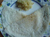 Neer (Bariakki) Dosa with Coconut and Jaggery