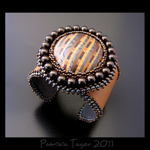 Brown, Gunmetal & tan stripe - Tan Leather Cuff 05 copy