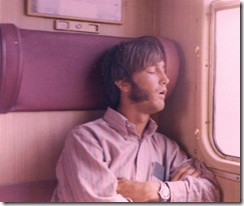 PB asleep on train