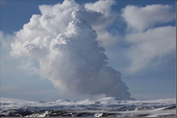 Uma erupção do vulcão islandês