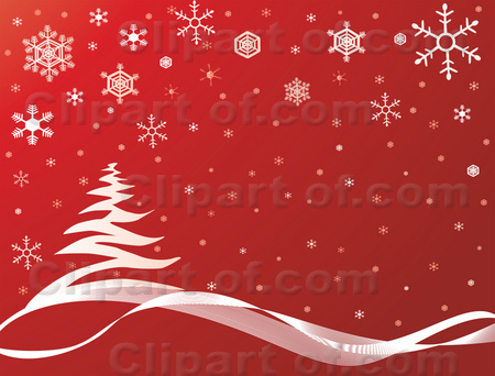 Royalty-free clipart picture of snowflakes falling over a tree on a hill