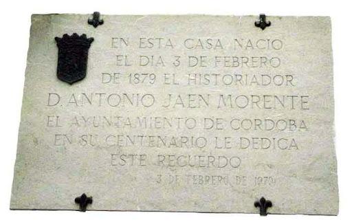 Placa nacimiento D. Antonio Jaen