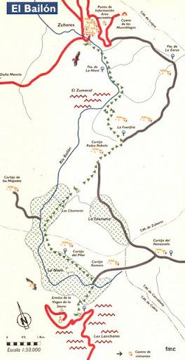 El Mapa del sendero del Bailón