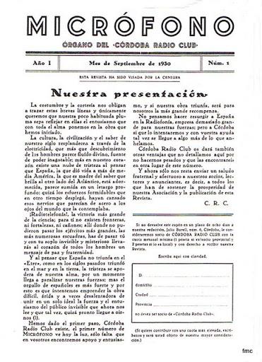 Micrófono órgano del Córdoba Radio Club