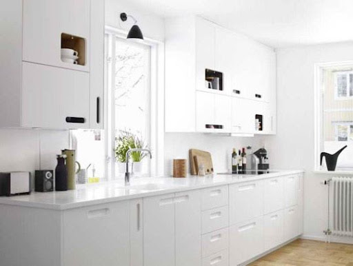 Pristine white kitchen