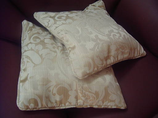 Brown Self Design Cushion Cover