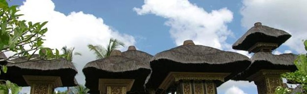 Temple roofs near Villa Sabandari in Ubud, Bali