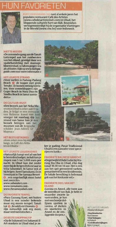 Artikel in HLN: Vermeld ook Villa Sabandari, een rustig boutique charme hotel | zen Bali Ubud | Yoga vacation
