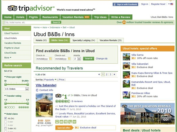 Tripadvisor ranking for Villa Sabandari, Hotel di Bali | Hoteles Bali Indonesia | Luxe resorts in Ubud
