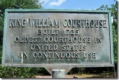 King William Courthouse built 1725