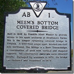 Meem's Bottom Covered Bridge Marker