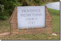Providence Church Sign by the road to church