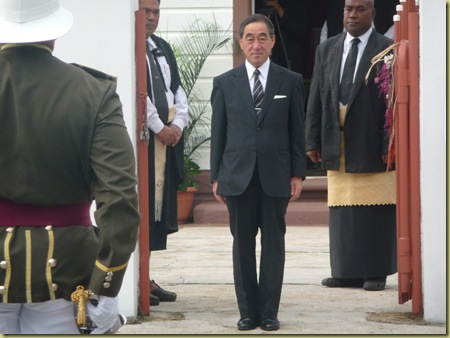 Japanese ambassador stands at attention while his national anthem was played