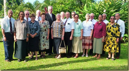 Missionary Couples with Elder Hamula, 2nd counselor in the Pacific Area Presidency from NZ