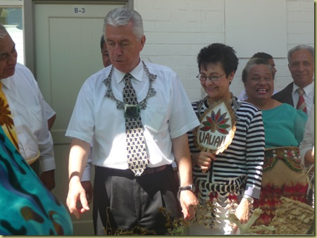 Pres. and Sister Uchtdorf at Liahona enjoy displays