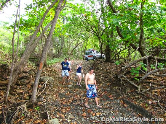 Walking down to secret beach in Costa Rica