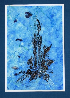 2009 12 Roberts Better Backgrounds Faux Blue Handmade Paper Stamped Candle