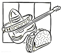 jugarycolorearTacos-and-guitar-coloring-page