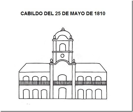 DIBUJO DEL CABILDO DEL 25 DE  MAYO DE 1810