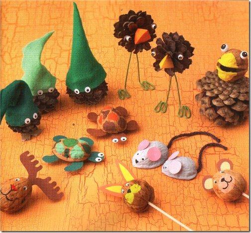 Manualidades para niños: animales hechos con nueces - Jugar y colorear