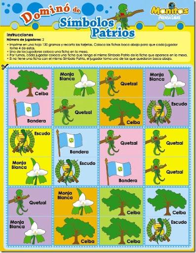 dominó para colorear símbolos patrios de Guatemala | Jugar y colorear