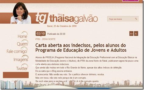 Carta aberta site Thaisa