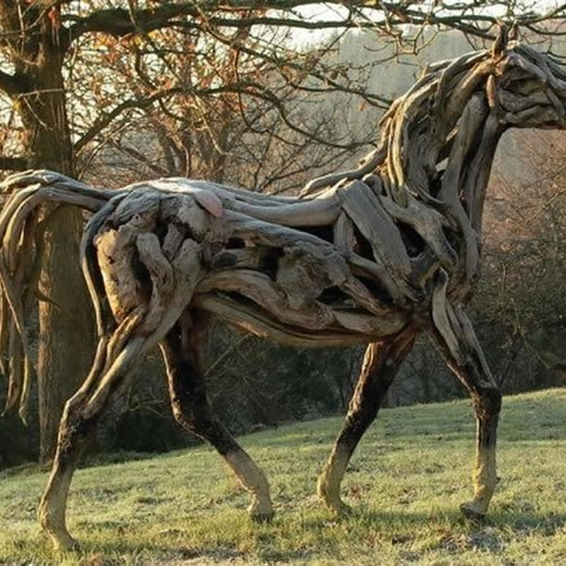 Incredible Tree Branch Horse Sculptures