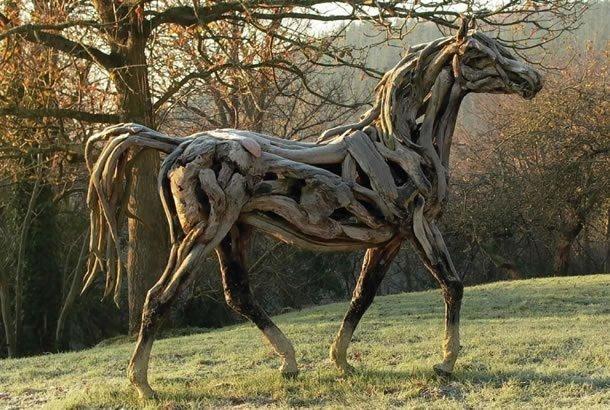 incredible tree branch horse sculptures amusing planet