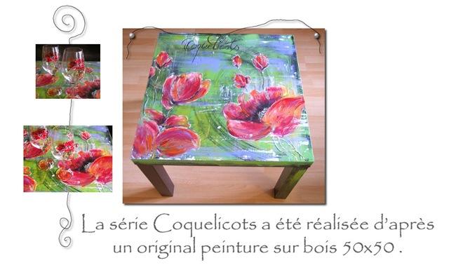 Série Coquelicots table bois MT