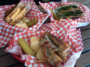 Grilled Cheese - From top left, classic w/bacon, grilled motzy and dill-icious