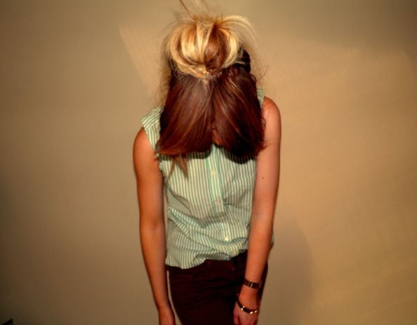 DIY SLEEVELESS GREEN CANDY STRIPED SHIRT 2