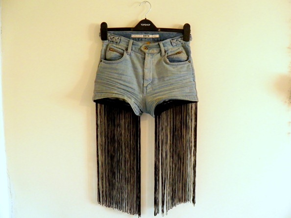 FRINGED TASSLE DENIM SHORTS 7