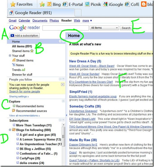 Google reader Home page A-F