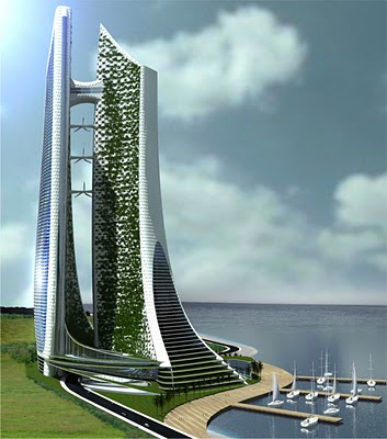 Eco-Cybernetic City with wharf