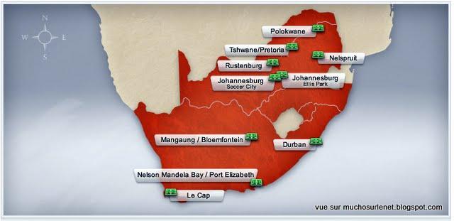 Les Stades de la Coupe du Monde 2010 en Afrique du Sud.